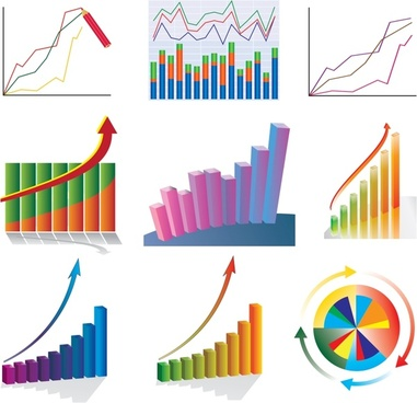 business chart templats colorful modern flat 3d shapes