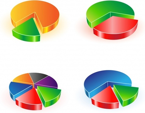 pie chart templates colorful modern 3d sketch