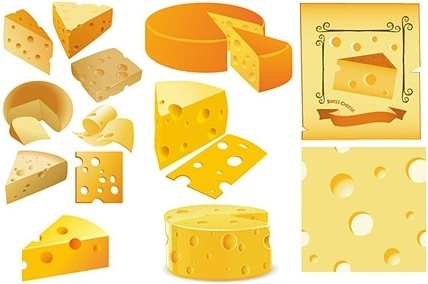 cheese piece icons collection realistic colored design
