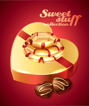 valentine chocolate advertising banner elegant shiny heart shapes