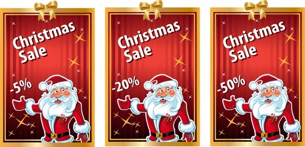 xmas sale banners funny santa red golden decor