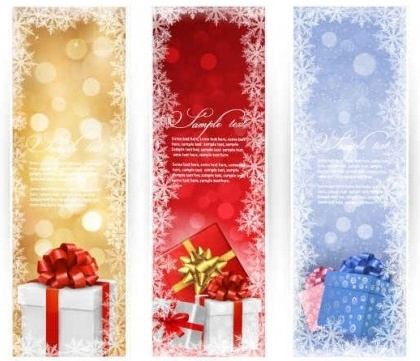vector christmas gift banners graphics