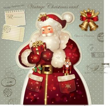 vector christmas santa claus greeting cards