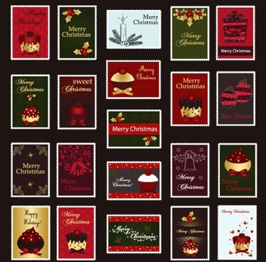 vector christmas stamps