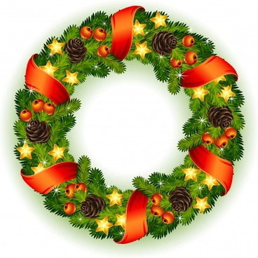 vector christmas wreath hung gifts