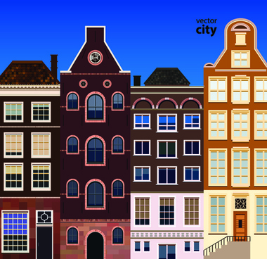 vector city building creative illustration