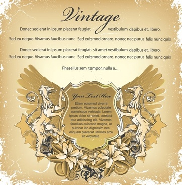 vintage banner template european wings legend animals decor
