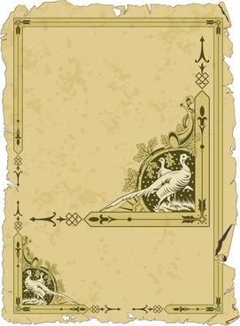 border template elegant european retro peafowl sketch