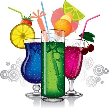 fresh fruit cocktail background colorful design style