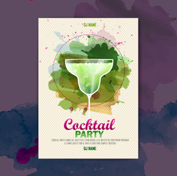 vector cocktail party poster design graphics set