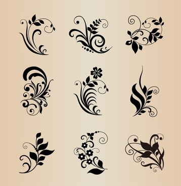 vector collection of floral elements for design