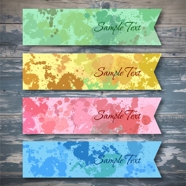 vector collection of water color banners sets