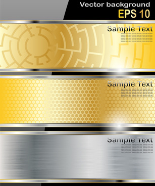 vector colored metal banners set