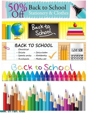 back to school banners educational tool icons decor