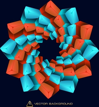geometry background red blue 3d cubic sketch