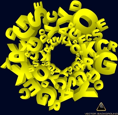 lettering background modern 3d messy yellow design