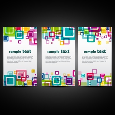 banner templates colorful abstract design flat squares decor