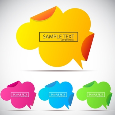 decorative speech bubble labels modern colored plain design