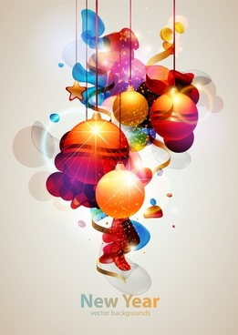 xmas new year background modern sparkling baubles decor