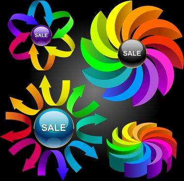 vector colorful circular charts