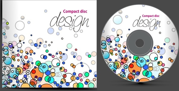 disc cover template colorful flat messy circles sketch