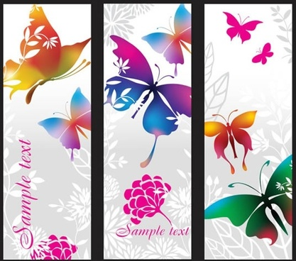 nature banner templates butterflies flora sketch colorful vertical