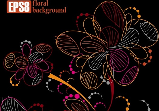 floral background template dark colorful handdrawn sketch