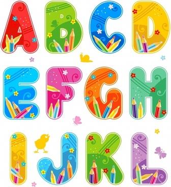 alphabet background template colorful text fonts pencils decor