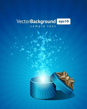 decorative background bursting gift box twinkling 3d design