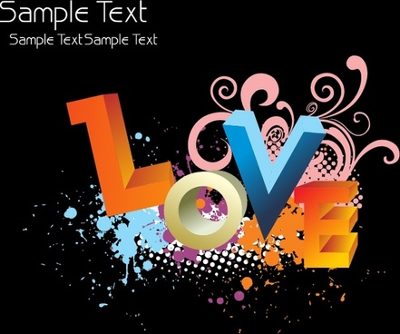 love background colorful 3d texts grunge ink decor