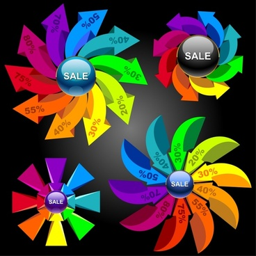 vector colorful sales charts