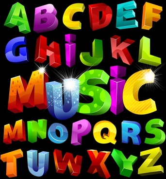 alphabet background colorful 3d sketch shiny sparkling decor