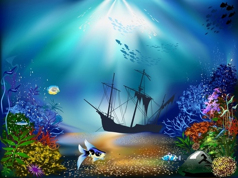 seabed painting modern colorful cartoon sketch