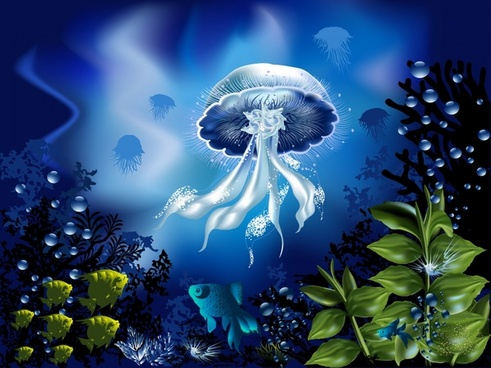 ocean painting seabed creatures sketch colored modern design