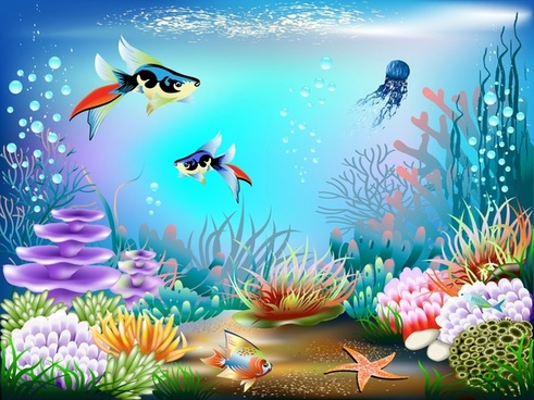 underwater background fishes coral decor colorful modern design