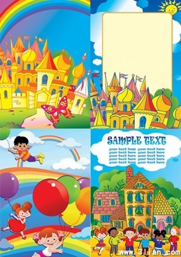 dreaming background childhood theme colorful castles rainbow decor