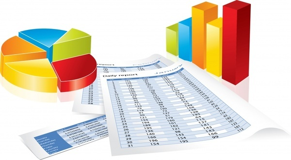statistic design elements chart report icons 3d design