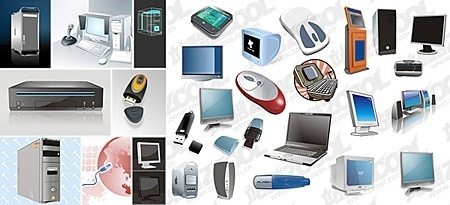 electronic devices icons collection various colored types