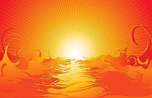 vector cool sea sunset