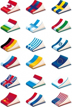notebook templates nations flags decor shiny colorful 3d