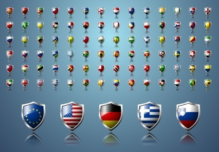 nation flags icons collection colorful shields shaped design