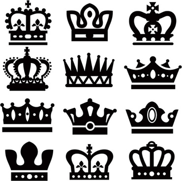 vector crown creative silhouettes set