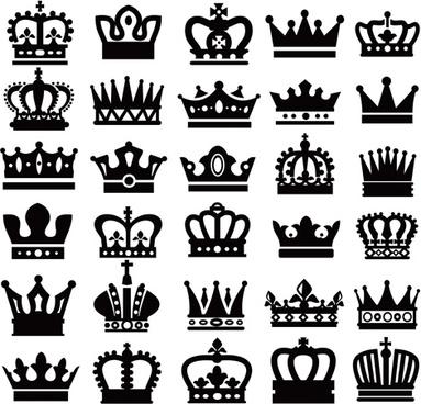 Vector crown creative silhouettes set