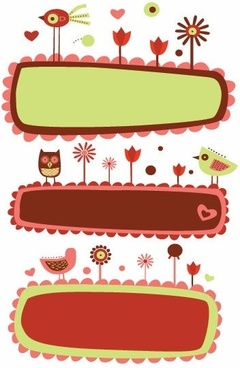 Vector Cute Bird and Flower Banners