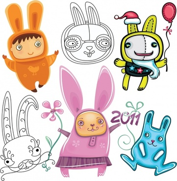 new year design elements cute bunny characters