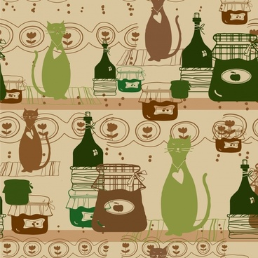 decorative background template flat classical cats jars bottles