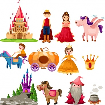 fairy tale design elements colorful cartoon characters sketch