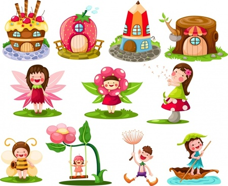 fairy tale design elements cute symbols cartoon sketch