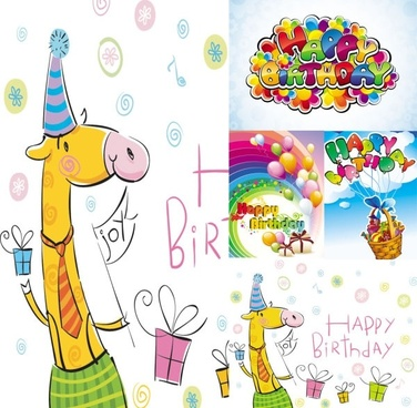 vector cute cartoon happy birthday