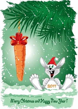 christmas background cute rabbit carrot icons decor